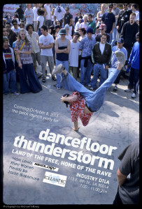 "E-flyer for the book launch party for ""DANCEFLOOR THUNDERSTORM"""