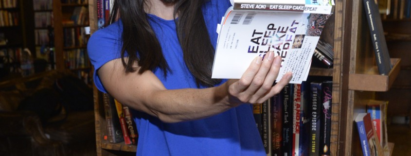 """LOS ANGELES, CA - JULY 30:  DJ/producer Steve Aoki attends a signing of his new book """"Eat Sleep Cake Repeat"""" at The Last Bookstore on July 30, 2015 in Los Angeles, California.  (Photo by Michael Tullberg/Getty Images)"""